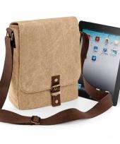 Bruine canvas tas voor tablet of ipad