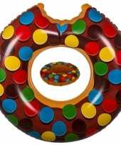 Bruine donut zwemringen zwembanden en drankhouders bekerhouders set