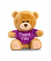 Bruine knuffelbeer met paars shirt zittend 14cm