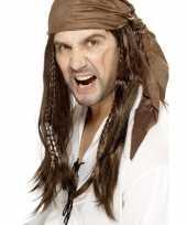 Bruine lange piratenpruik voor heren
