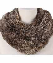 Bruine melee pluche ronde sjaal voor volwassenen