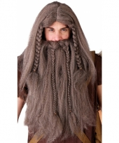 Bruine noordmannen pruik met baard