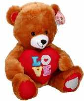 Bruine pluche beren knuffel 43 cm met hart