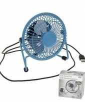 Bureau ventilator blauw 15 cm