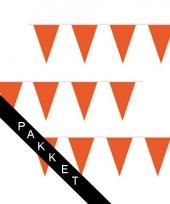 Buurtversiering oranje vlaggenlijnen 500 meter