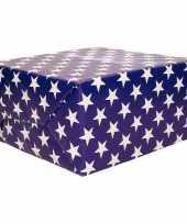 Cadeaupapier blauw met sterren 70x200 cm