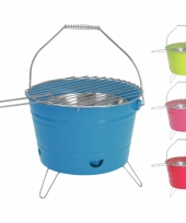 Camping barbecue emmer blauw 28 cm