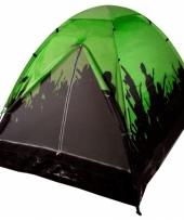 Camping tent zwart met groen voor 2 personen