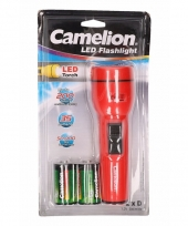Camping zaklampen rood 19 cm