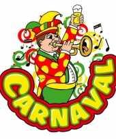 Carnaval deco bord muzikant met trompet van plastic 35 x 40 cm