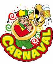 Carnaval deco bord muzikant van plastic 35 x 40 cm