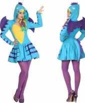 Carnaval feest blauwe draak verkleed outfit voor dames
