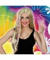 Carnaval hippie flower power pruik voor dames