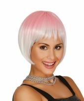 Carnaval pruiken zilver met roze