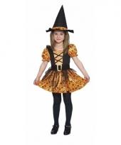 Carnavals outfit oranje heks jurk voor meisjes