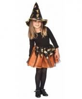 Carnavals outfit oranje heksen set voor meisjes