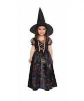 Carnavals outfit zwarte heks jurkje voor meisjes