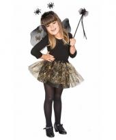 Carnavals outfit zwarte spinnen heksen set voor meisjes