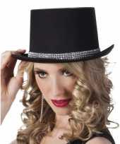 Carnavalshoed zwart met zilveren steentjes voor dames