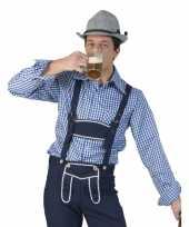 Carnavalskleding blauw witte overhemd voor heren
