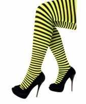 Carnavalskleding halloween geel zwarte heksen panties maillots verkleedaccessoire voor dames