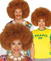 Carnavalspruik afro roodbruin