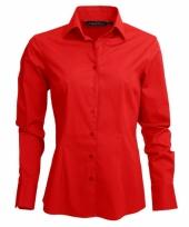 Casual dames overhemd rood lange mouw