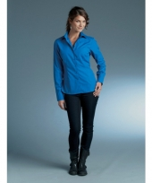 Casual overhemd dames royal blauw lange mouw