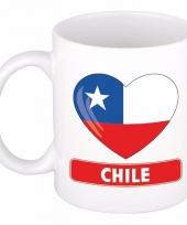 Chileense vlag hart mok beker 300 ml