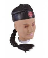 Chinees hoedje met vlecht 10033224