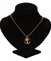 Chunkketting zilveren oranje kruis voor volwassenen