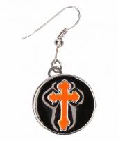 Chunkoorbellen zilveren oranje kruis voor volwassenen