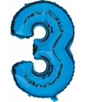 Cijfer ballon in blauw 3