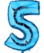 Cijfer ballon in blauw 5