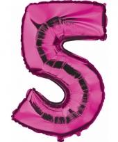 Cijfer ballon in roze 5