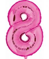 Cijfer ballon in roze 8