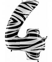 Cijfer ballon in zebra 4