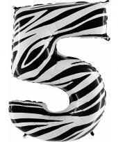 Cijfer ballon in zebra 5