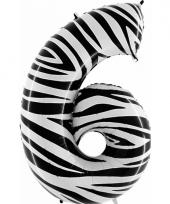 Cijfer ballon in zebra 6