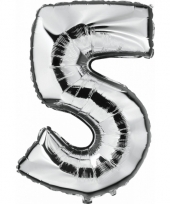 Cijfer ballon in zilver 5