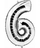 Cijfer ballon in zilver 6