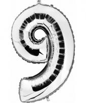 Cijfer ballon in zilver 9