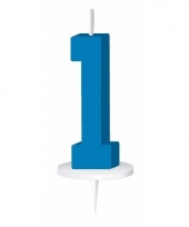 Cijfer kaarsen blauw 1