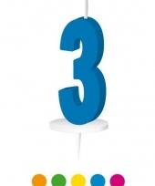 Cijfer kaarsen blauw 3