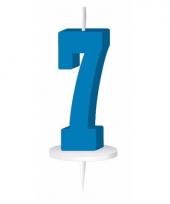 Cijfer kaarsen blauw 7