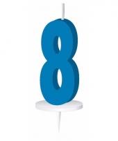 Cijfer kaarsen blauw 8