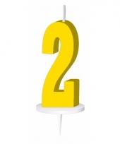 Cijfer kaarsen geel 2