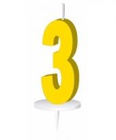 Cijfer kaarsen geel 3