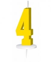 Cijfer kaarsen geel 4