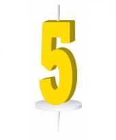 Cijfer kaarsen geel 5